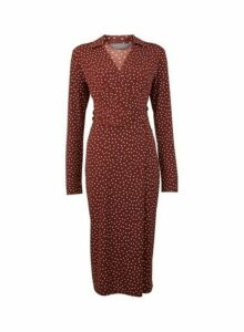 Womens Tall Brown Spotted Midi Wrap Dress, Brown