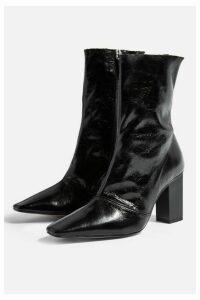 Womens Henna Leather Boots - Black Black, Black Black
