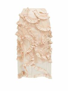 4 Moncler Simone Rocha - Ruffled Tulle Skirt - Womens - Light Pink