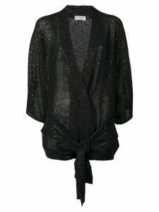 Brunello Cucinelli sequin belted cardigan - Black