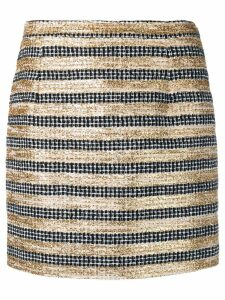 Alessandra Rich striped tweed mini skirt - Black