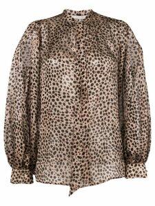L'Autre Chose leopard print pussy bow blouse - Brown