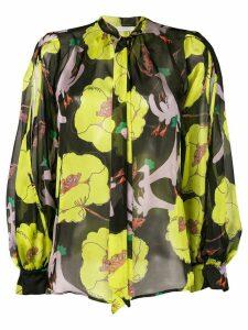 L'Autre Chose poppy print sheer tie neck blouse - Black