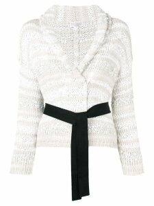 Brunello Cucinelli belted chunky knit cardigan - Neutrals