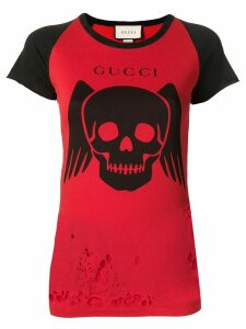 Gucci ripped contrast graphic T-shirt - Red