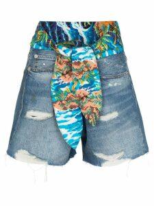 R13 Jasper tie-waist denim shorts - Blue