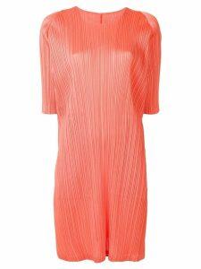 Pleats Please Issey Miyake short-sleeve pleated dress - ORANGE