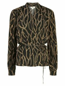 L'Agence chain printed wrap blouse - Black