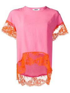 MSGM lace-trim T-shirt - Pink