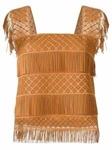 Alberta Ferretti fringed sleeveless blouse - Neutrals