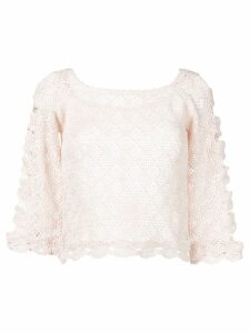 Alberta Ferretti sheer knitted blouse - Pink