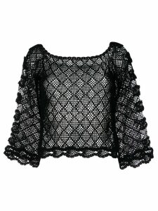 Alberta Ferretti sheer knitted blouse - Black