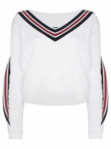 Y/Project V-neck twisted trim cable-knitted jumper - White