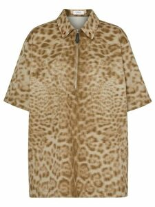 Burberry short-sleeve animal print shirt - NEUTRALS