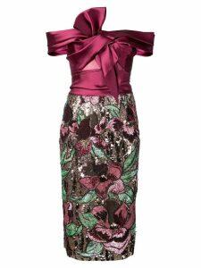 Marchesa Notte off-the-shoulder sequined dress - PINK