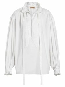 Burberry Puff-sleeve Cotton Tie-neck Blouse - White