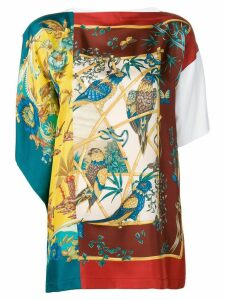 Salvatore Ferragamo asymmetric printed blouse - White
