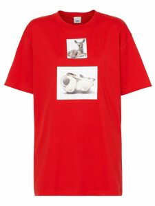 Burberry Deer Print Cotton T-shirt - Red