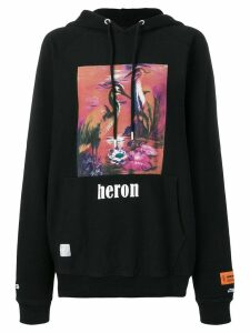 Heron Preston graphic print hoodie - Black