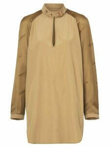 Burberry Buckle Collar Contrast-sleeve Silk Cotton Top - Green