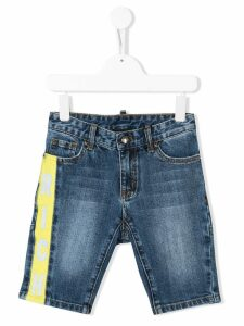 John Richmond Junior rich print denim shorts - Blue