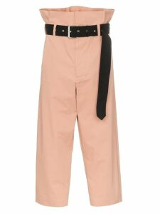 Plan C paperbag waist cropped trousers - PINK