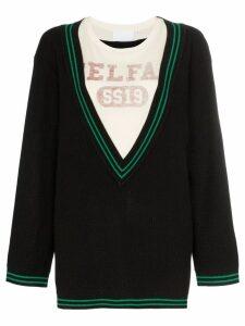 Telfar logo-print layered V-neck sweater - Black