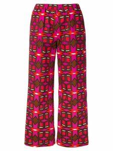 Aspesi geometric print cropped trousers - PINK