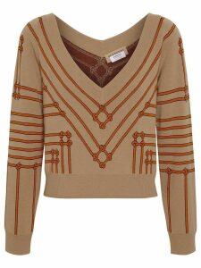 Burberry Rope Silk Wool Jacquard V-neck Sweater - NEUTRALS