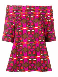 Aspesi geometric print off shoulder blouse - Pink