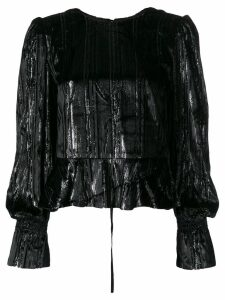 Three Floor Remix metallic top - Black