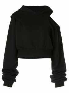 Ground Zero cut-out shoulder hoodie - Black