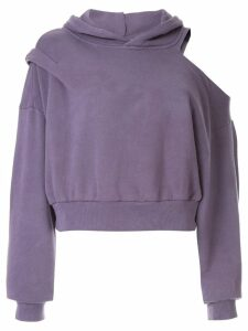 Ground Zero cut-out shoulder hoodie - Purple