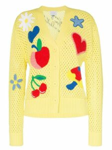 Mira Mikati appliqué patch-detail knitted-cotton cardigan - Yellow