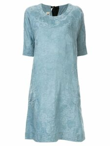 Uma Wang floral embroidery midi dress - Blue