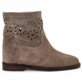 Via Roma 15  dove pierced suede ankle boots  women's Low Boots in Grey