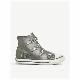 Virgin metallic leather high-top trainers