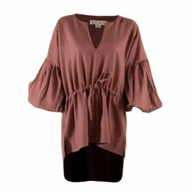 McVERDI - Loose Blouse With Blue Flower Print