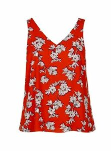 Red Floral Print Vest Top, Red