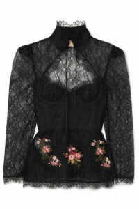 Brock Collection - Oliera Tie-detailed Embellished Corded Lace Blouse - Black
