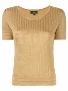 Fendi Pre-Owned logo knit top - Yellow