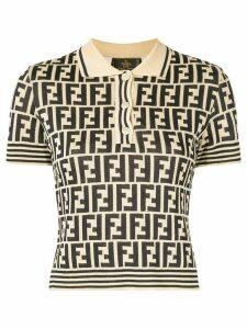 Fendi Pre-Owned FF logo knit polo top - White