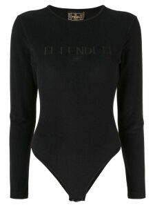 Fendi Pre-Owned long-sleeved logo bodysuit - Black