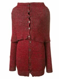 Yohji Yamamoto Pre-Owned ribbed high neck cardigan - Red