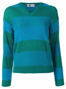 Kansai Yamamoto Pre-Owned V-neck striped sweater - Blue