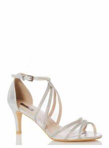 Womens Quiz Silver Diamante Mid Heel Sandals, Silver