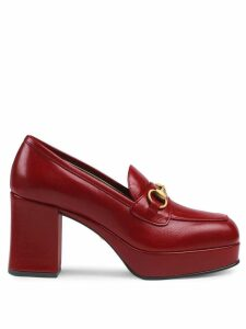 Gucci Leather platform loafer with Horsebit - Red