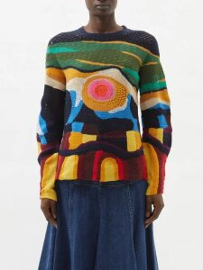 Fendi - Ff Jacquard Midi Dress - Womens - Navy