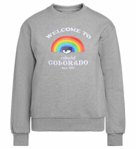 Chiara Ferragni Grey Fleece With Rainbow Print