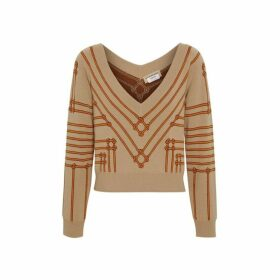 Burberry Rope Silk Wool Jacquard V-neck Sweater